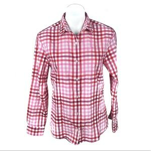 Southern Tide Red Pink Check Button Up
